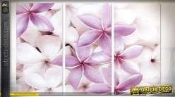 Tableau en triptyque sur toile et châssis bois : fleurs blanches et violettes 81 cm