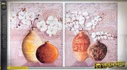 Série de 2 tableaux 75 x 60 sur toiles, thème fleurs, vases et nature morte