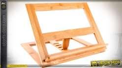 Lutrin en bois naturel pour partition musicale ou livre, réglage à crémaillère