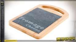 Set de 6 plateaux individuels à fromages en bois et ardroise 18,5 cm