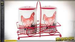 Salière et poivrière en céramique sur suppont en métal coloris rouge et blanc