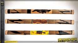 Set de 3 bâtons de pluie décoratifs en bois à motifs ethniques 80 cm
