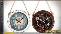 Série de 2 petites horloges murales en bois vintages suspendues Ø 30 cm