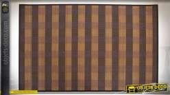 Tapis en fibre de bambou motifs à bayadères teintes mordorées 180 x 120 cm