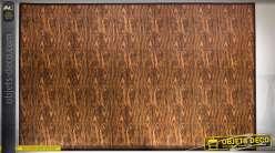 Grand tapis  en bambou 230 x 160 à motifs de nervures ondulées mordorées