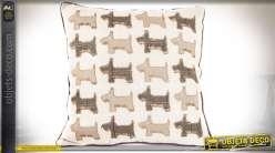 Coussin décoratif lin et coton à motifs de chiens disposés en quadrillage 45 x 45 cm