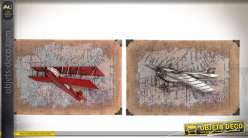 Duo de décoration murale en métal et lin avions rétro 58 x 38 cm