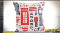 Coussin So British en coton, à motifs anglais, complet avec garniture 45 x 45 cm