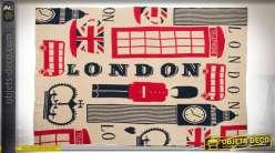 Plaid décoratif en acrylique thème décoratif Londres So British 170 x 130 cm
