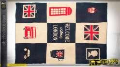 Plaid en acrylique sur le thème de Londres à motifs typiques anglais 170 x 130 cm