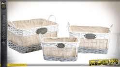 Set de 3 corbeilles en métal, osier et tissu de style rétro et campagne chic