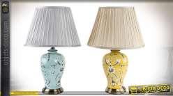 Duo de lampes de tables en céramique style rétro coloris jaune et bleu pâle 62 cm