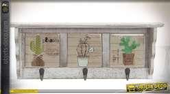 Petite étagère décorative de cuisine style rétro avec 3 crochets en métal 39 cm