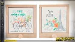 Tableaux en bois avec crochets et motifs rétro, bicyclette et Tour Eiffel