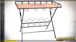 Console meuble bar avec supports pour verres et bouteilles en bois et métal