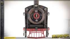 Horloge mural en métal vieilli motif locomotive à vapeur ancienne 33 cm