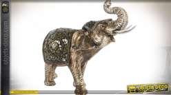 Statuette animalière : éléphant finition gris métallisé et vieilli 31 cm