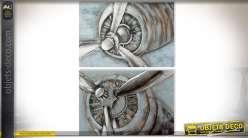 Toiles sur le thème de l'aviation moteurs et hélices 120 x 80 cm