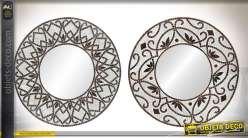 Ensemble de deux miroirs ronds en métal et mosaïque Ø 60 cm de style rétro