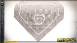 Chemin de table en coton coloris gris clair et broderies anglaises 150 cm