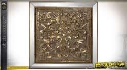 Panneau décoratif murale bois sculpté patine dorée encadrement miroirs biseautés 67 x 67 cm