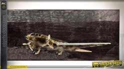 Décoration murale avion à hélices en relief sur plaque de métal  100 cm