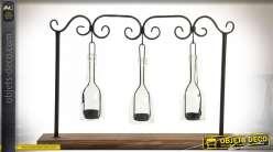 Bougeoir original en bois et métal, trois bouteilles suspendues 55 cm
