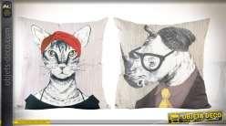 Set de 2 coussins décoratifs originaux a motifs d'animaux andromorphes
