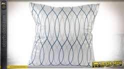 Série de 4 coussins blanc brillant à motifs en ondulations grises et bleues