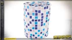 Corbeille à linge cylindrique en tissu à carreaux bleu, blanc, gris Ø 38 cm