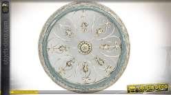 Miroir décoratif de style rétro et brocante, ornementation effet fer forgé Ø 73 cm
