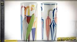 Set de 2 porte-parapluies cylindriques en céramique motifs colorés 44 cm