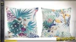 Duo de coussins 45 x 45 cm paysages exotiques et toucans