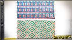 Série de 2 tapis en coton et polyester 140 x 70 motifs boho multicolores