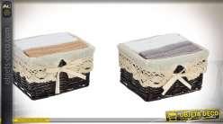 Série de 2 paniers en osier brun avec 12 serviettes en coton 300 gr