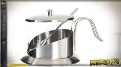 Sucrier design en inox finition argentée, capacité 200 ml