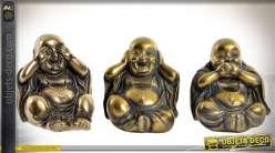 Série de 3 statuettes de bouddhas rieurs finition bronze doré et vieilli 9,5 cm