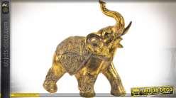 Statuette décorative d'éléphant indien finition effet métal doré vieilli 37,5 cm