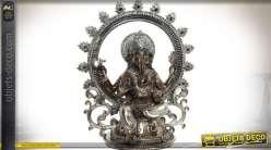 Statuette orientale Ganesh finition gris argenté et paillettes 30 cm
