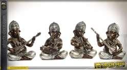 Série de 4 statuettes de Ganesh finition métal doré 30 cm