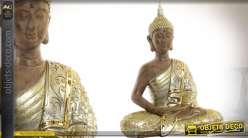 Grande statuette dorée de bouddha finition vieux bronze et argent 60 cm