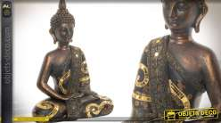 Statuette de bouddha finition bronze cuivré vieilli et frises de miroirs dorés 39 cm