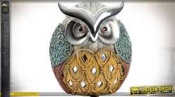 Personnage objet décoratif en résine et miroir hibou stylisé