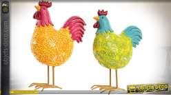 Série de deux poules décoratives effet stylisé et coloré 20 cm