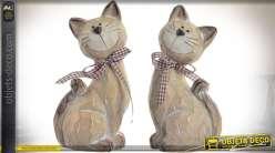 Duo de statuette de chats stylisés en terre cuite 18 cm