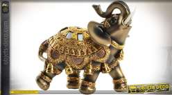 Statuette éléphant coloris bronze doré et or,  style statuette orientale 12,5 cm