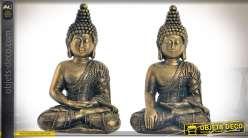 Duo de statuettes de bouddhas en résine finition aspect bronze doré vieilli 13,5 cm