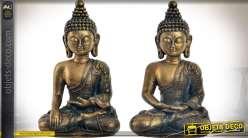 Duo de statuettes de bouddhas finition bronze doré vieilli 21 cm