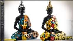 Duo de statuettes de bouddha finition multicolore effet patchwork 15,5 cm