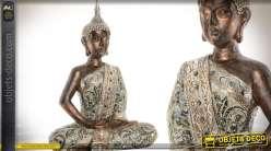 Statuette de bouddha assis finition aspect métal cuivré et argenté 51 cm
